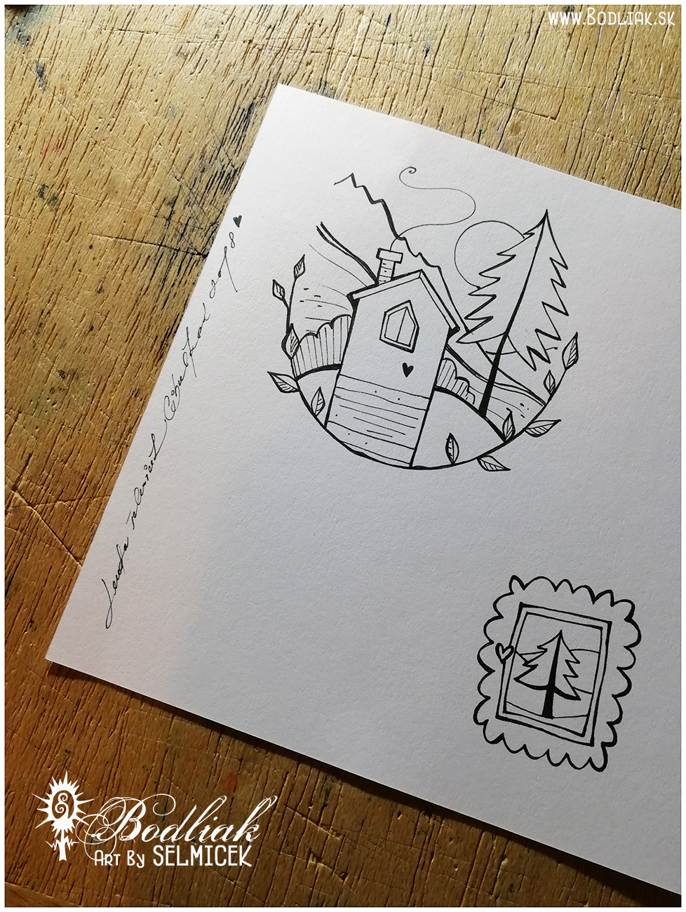 Domček a stromček   autor: Selmicek   domček : priemer kruhu - 7cm ...  stromček  - 3,5cm x 3,5cm