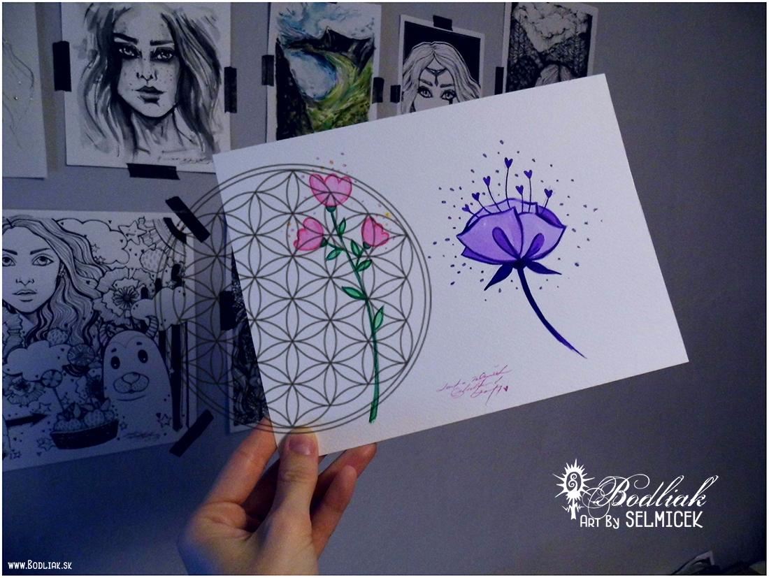 KvietOK   autor: Selmicek  fialový: 14cm x 9cm... cena za tetovanie v danej veľkosti 60,- eur