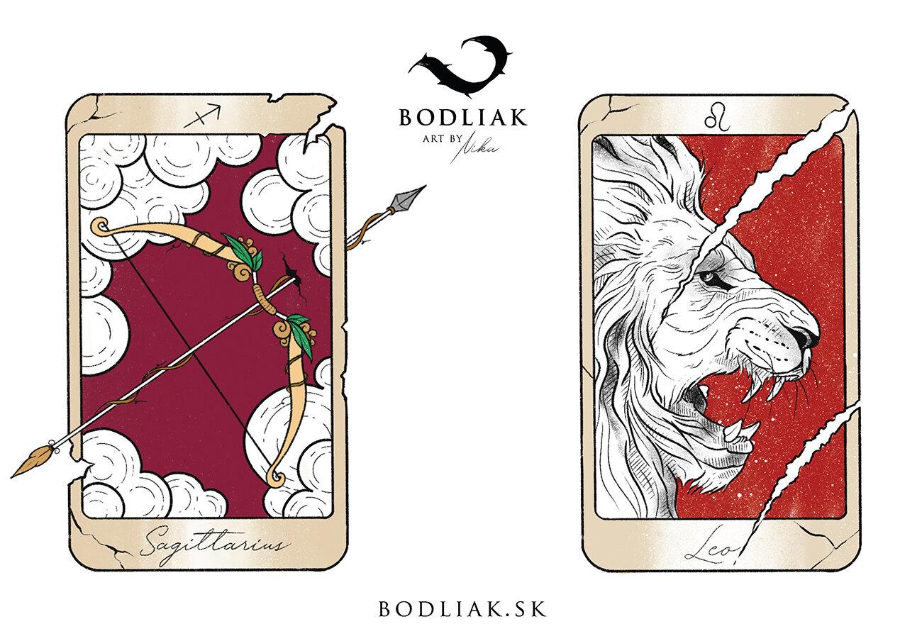 Tarotové karty - znamenia Strelec a Lev   autor: Nikoleta (Nika)  výška cca 10cm