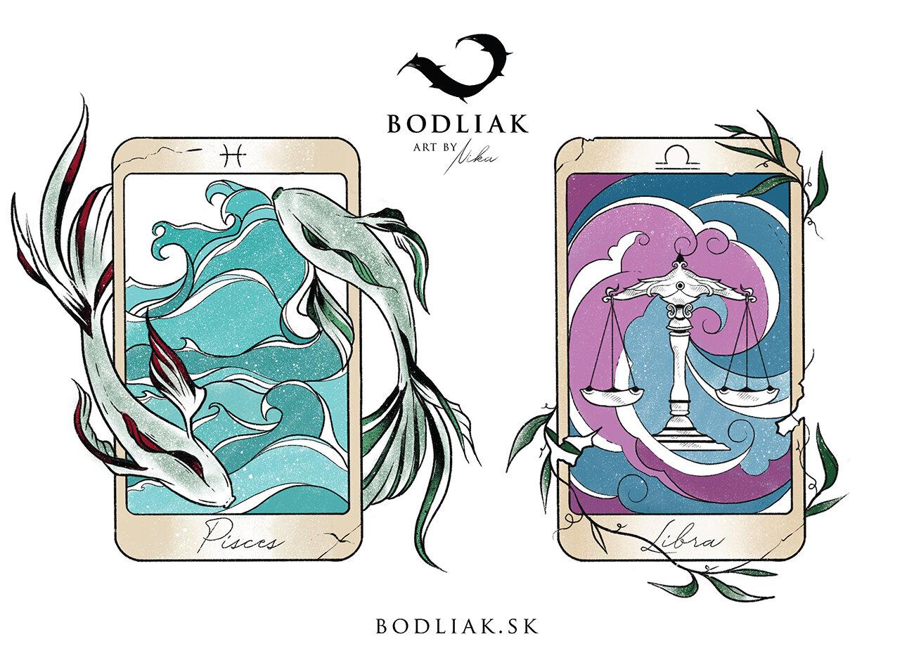 Tarotové karty - znamenia Ryby a Váhy   autor: Nikoleta (Nika)  výška cca 10cm