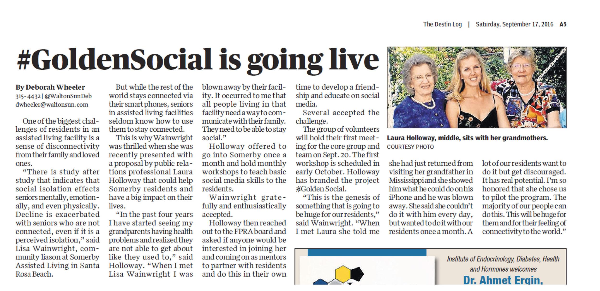 Click to read the article in the Walton Sun.
