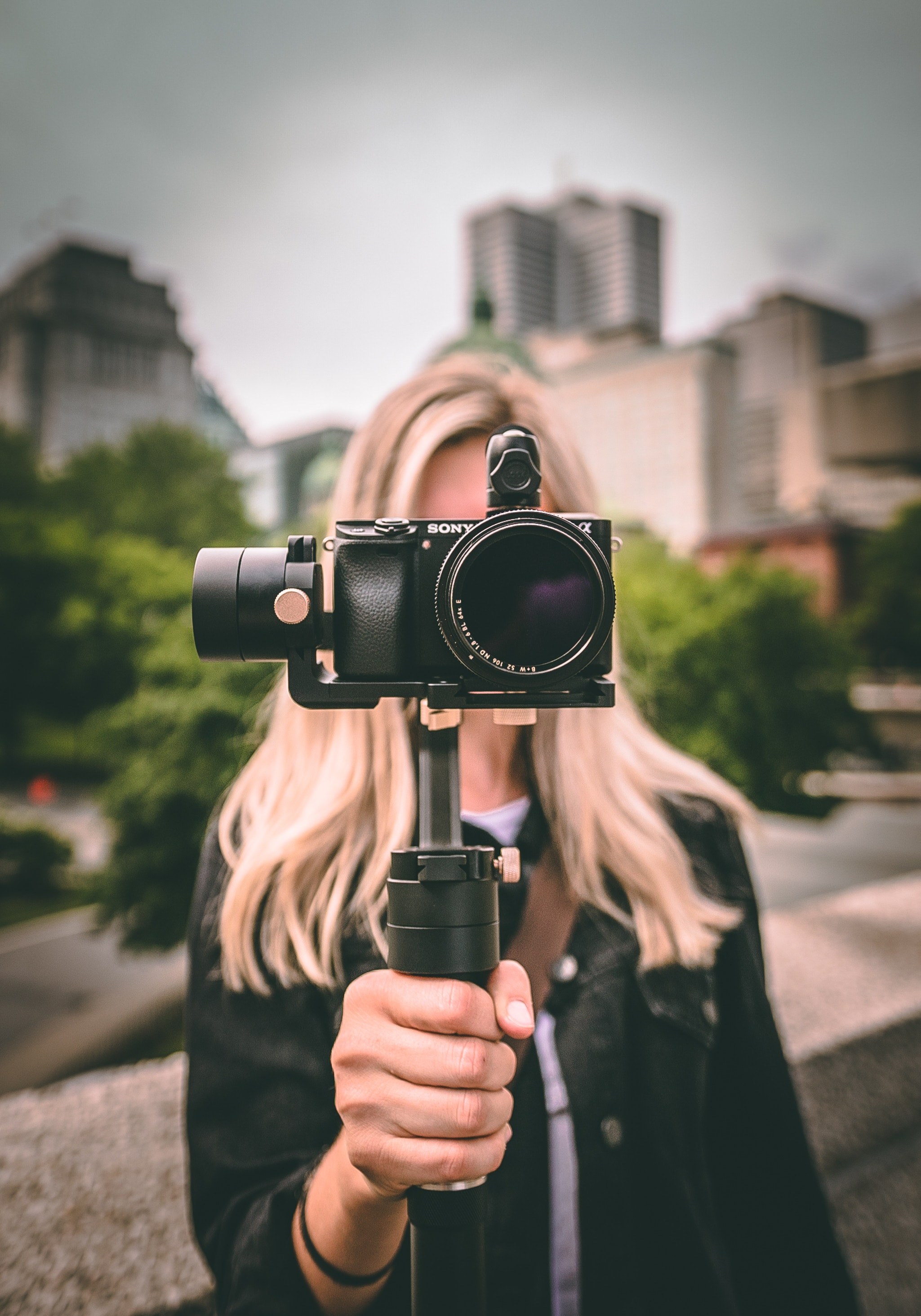 You can't shoot good video with a shaky camera, which is why a tripod and / or a gimbal image stabilizer is a vital piece of video marketing equipment. Photo credit: William Bayreuther