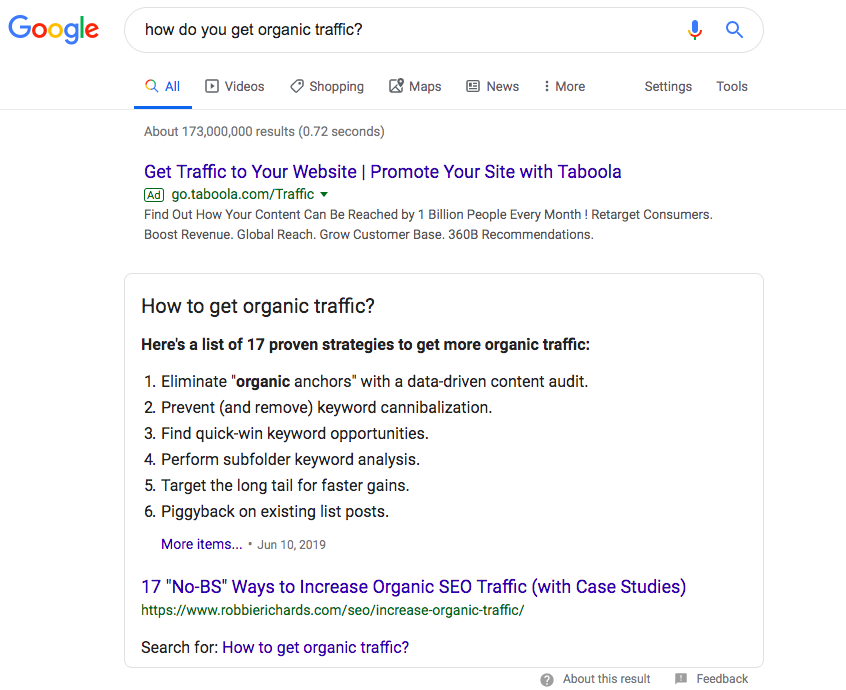 """Google is now taking a page out of the Amazon playbook in that it aspires to provide one perfect answer to your search queries. In this sample search, the site with the featured answer is seventh following sponsored results and the """"people also ask"""" dropdown menu. Photo credit: The Storyteller Agency"""