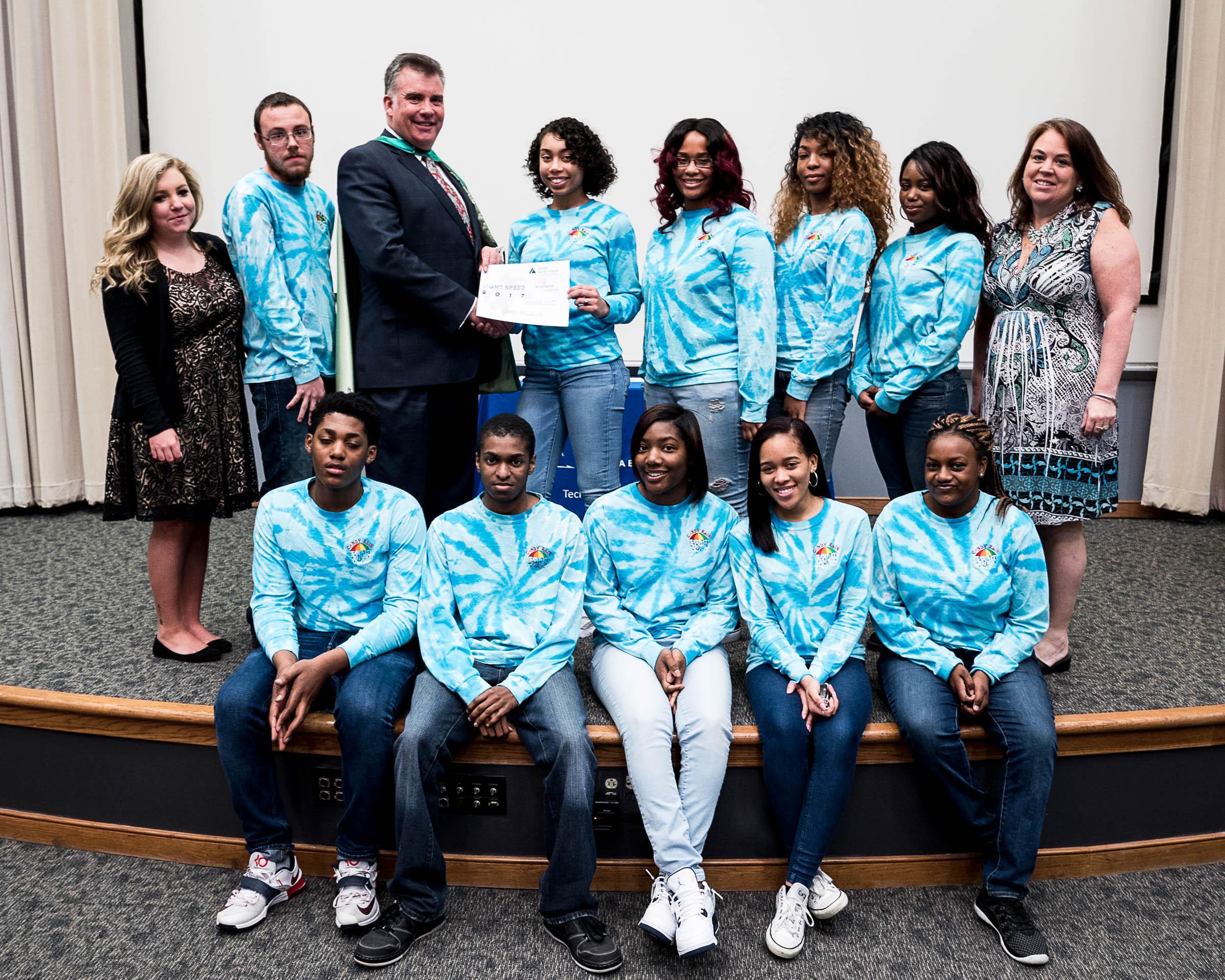 Candy Rain of Green Run High School was Second Runner Up (Pictured with teacher Kerri Sabo, TA Ms. Eubanks, and JA President Frank E. Hughlett).