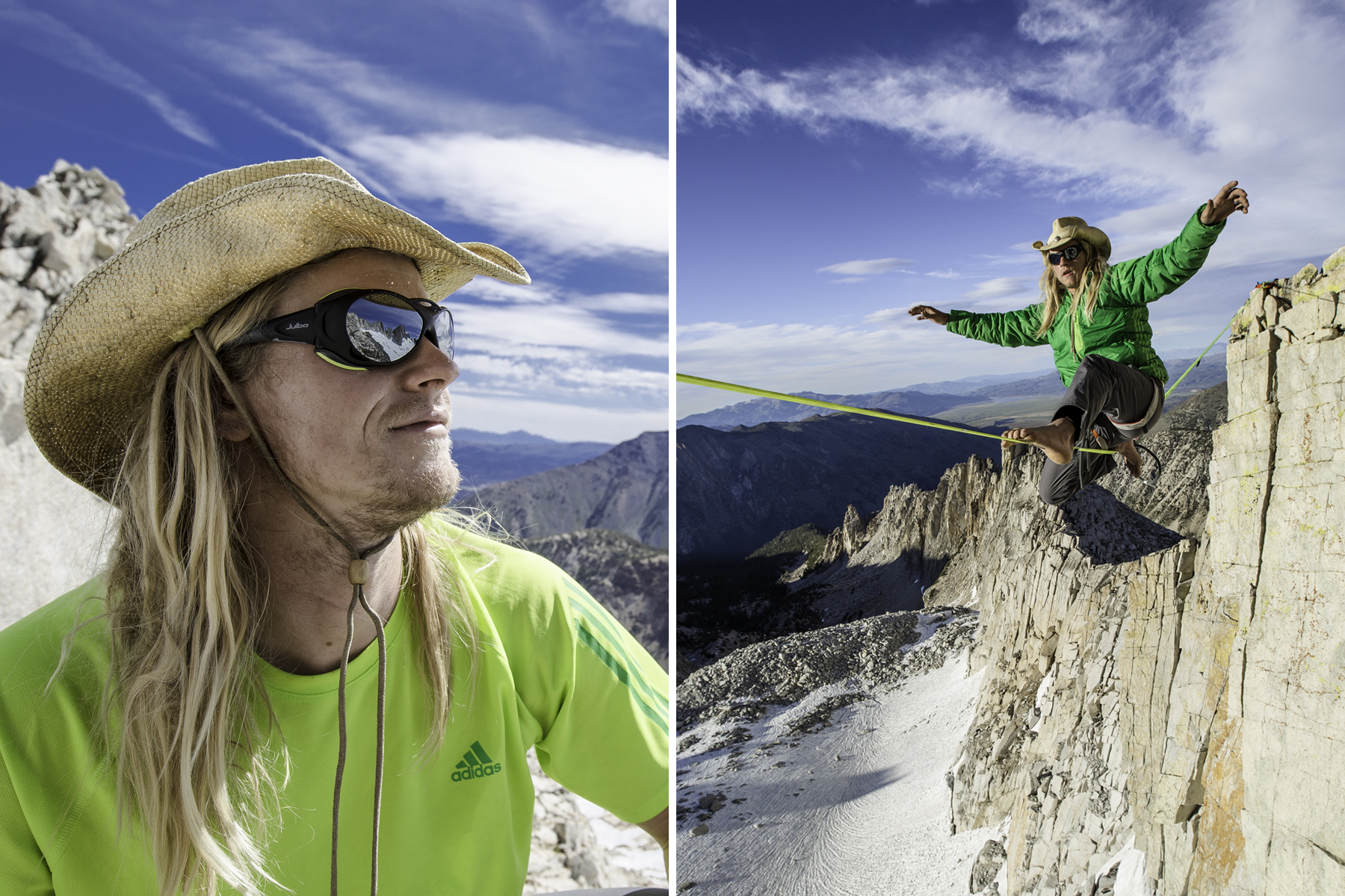 Preston Bruce Alden rigged and walked the first known highline in the Sawtooth's located outside of Bridgeport, CA. Preston looked at these peaks everyday for 2 years while working as a wildlife biologist in Bridgeport. You might say that daydreaming of this line is what started his obsession with rigging alpine high lines in the Eastern Sierra.