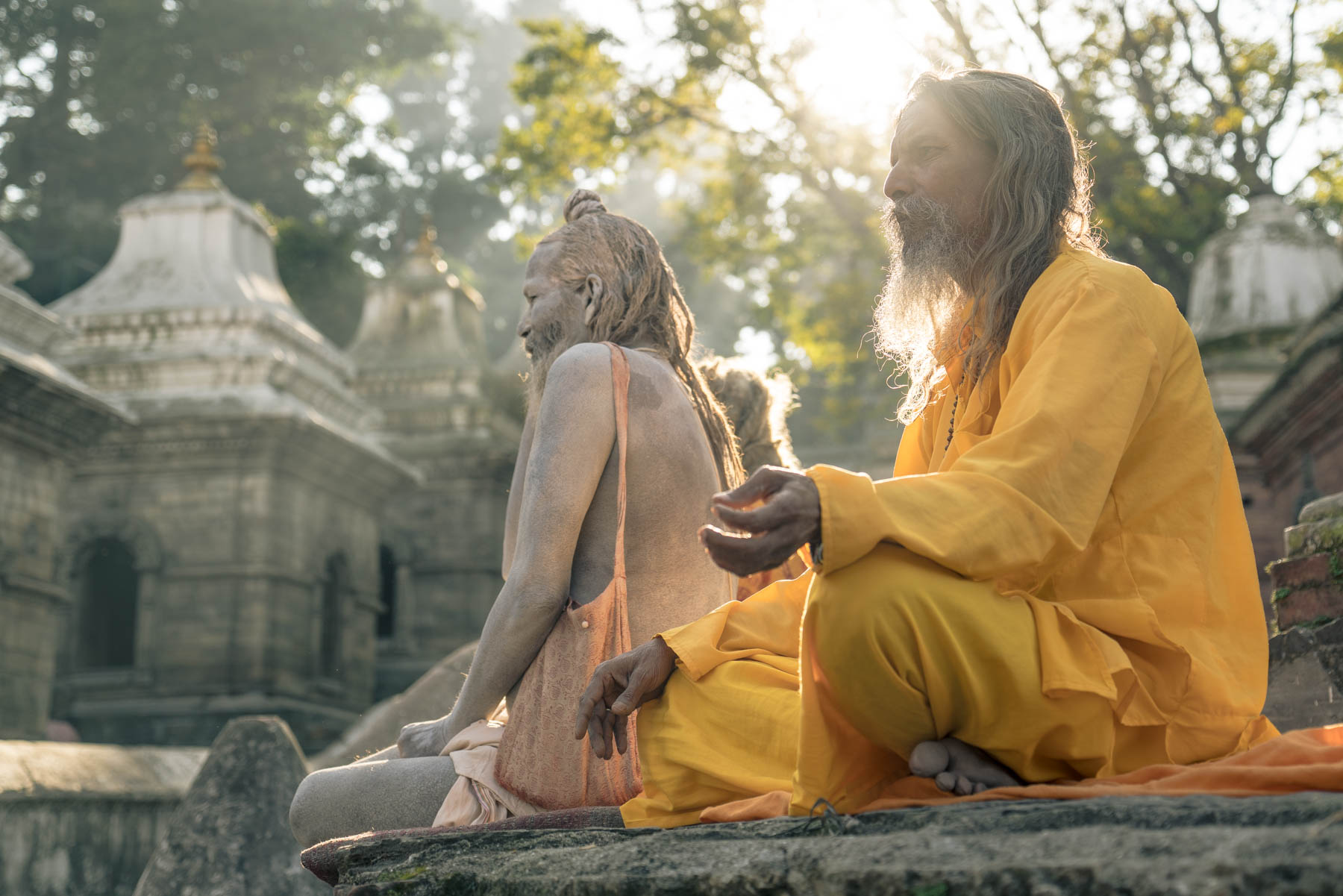 Sadhu's gather outside of the Shree Pashupatinath temple in Katmandu.