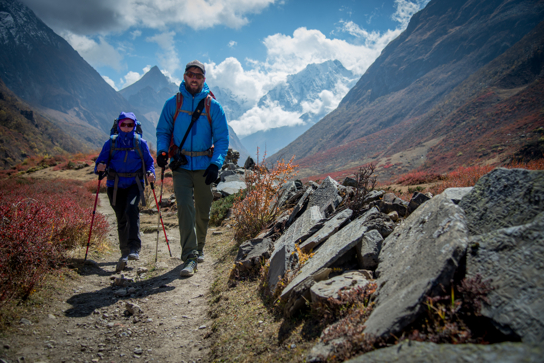 Cherise and I trekking to Smamgoun, where we would shoot our documentary Untouchable. Photo: Brian Mosbaugh