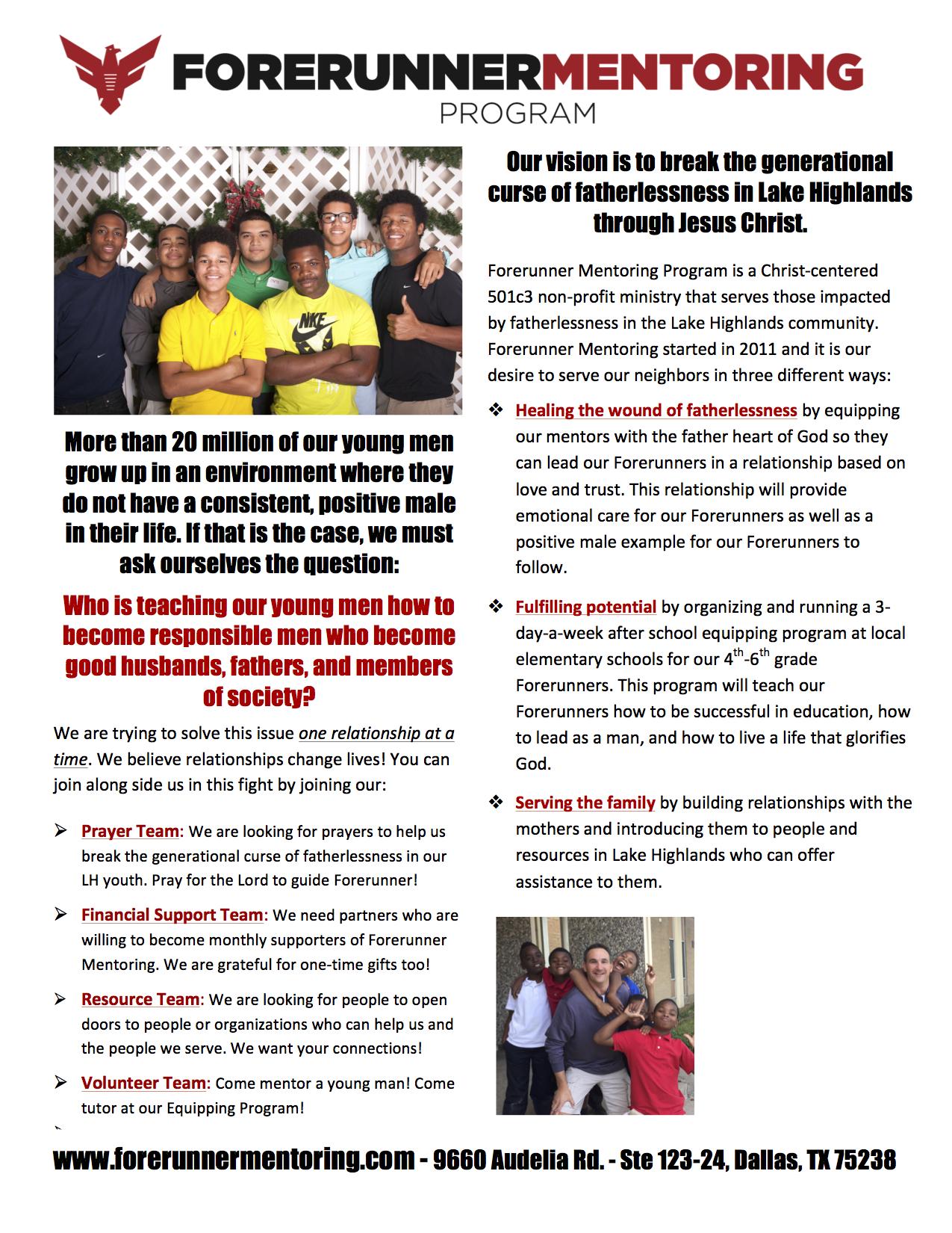 2015 End-of-the-Year Newsletter — Forerunner Mentoring Program