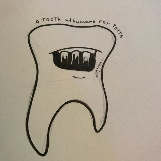 Tooth with humans for teeth. #teeth #illustration #chicagoartists #chicagoartists #illustratorsoninstagram #illustrators #keephopealive #hope #art #bodyparts #abstractart #sketch