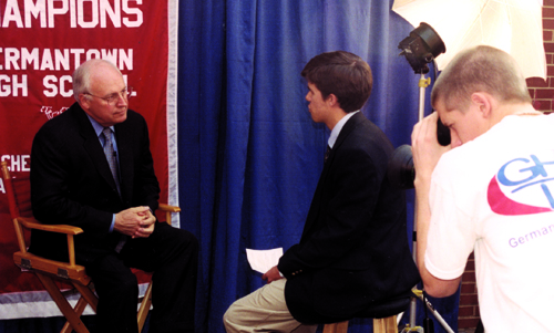 Eventual vice president Dick Cheney grants an interview to GHS-TV reporter rob edwards and videographer justin card during a campaign stop at GHS.