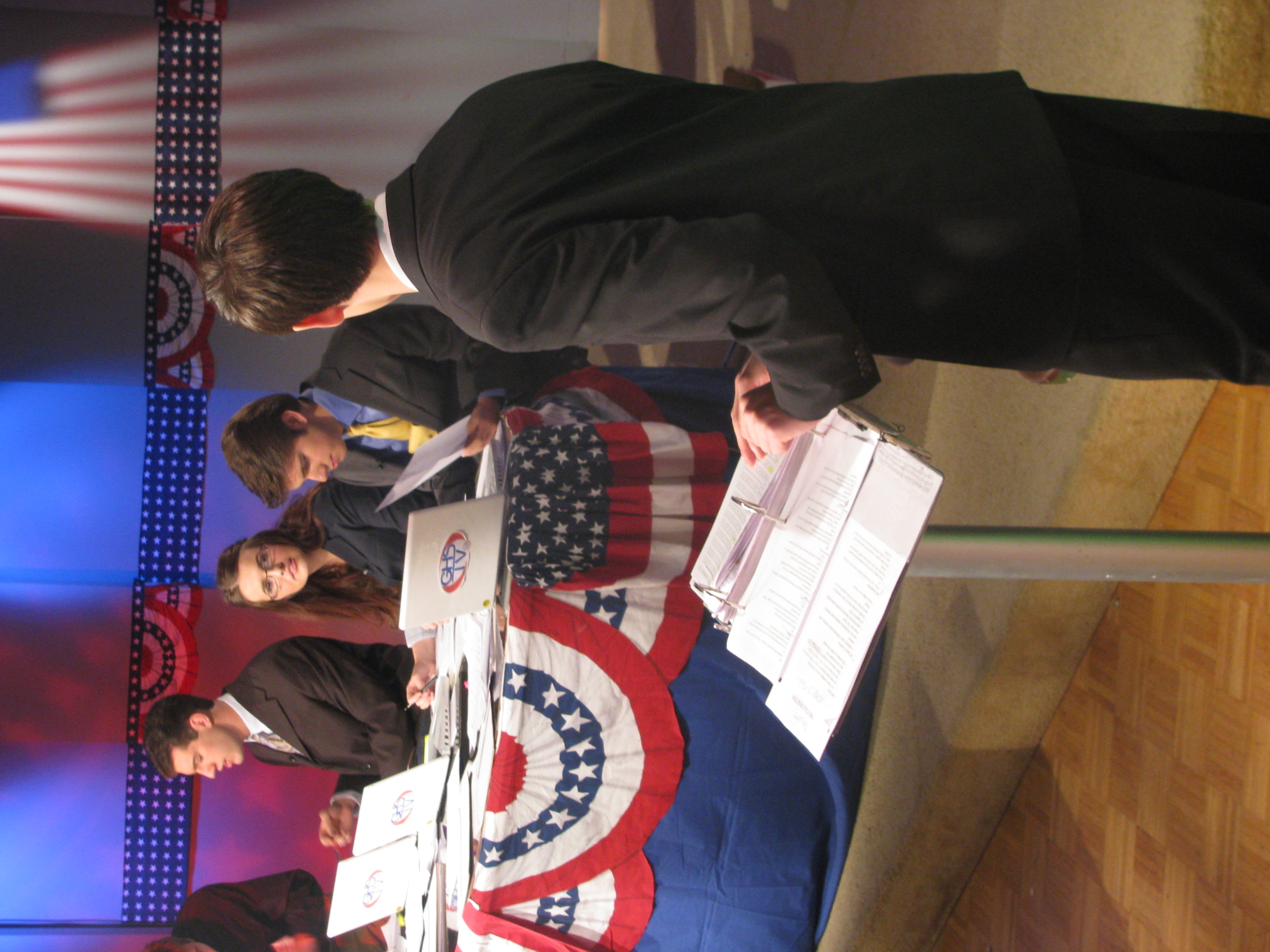 Election Night 2010  moderator Andrew Baldock goes over specifics for an upcoming on-air discussion with US House anchor Marinela Zubovic.