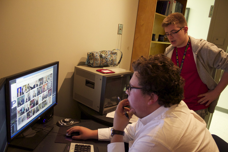 Mayers (sitting) and Alton are more than just anchors for  Election Night 2014 . Both produced content for the show as a reporter and videographer.