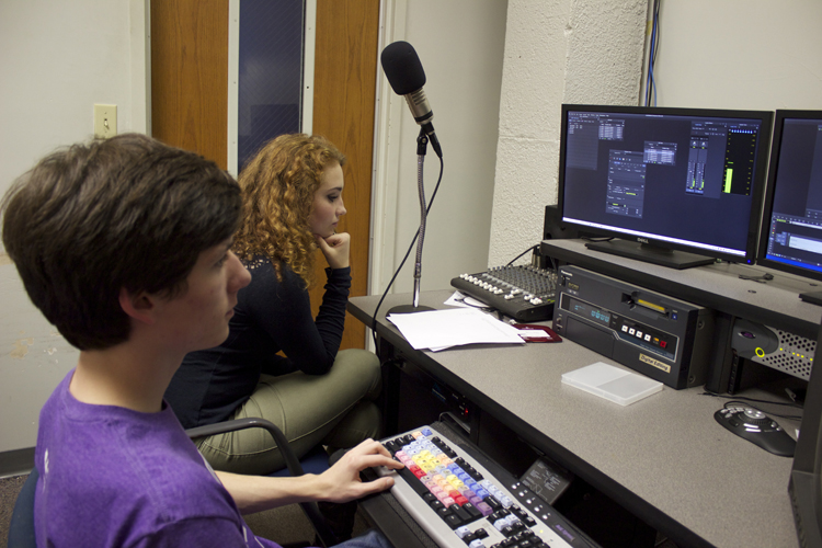 Editor Ethan Morton and moderator Sydney Armstrong work on their report. The two GHS-TV students visited Germantown Elementary to find out what GES students would do if they were president for a day.
