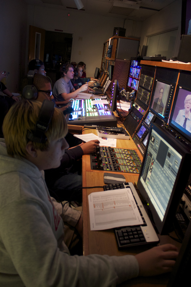 A view down the line in the control room during the Saturday rehearsal.