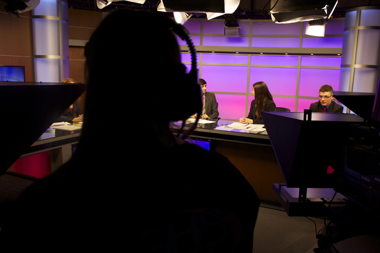 A view of the anchor set from behind the technical crew during Tuesday night's live show.