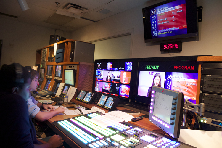 A view of the control room during GHS-TV's live coverage of  Election Night 2014 .