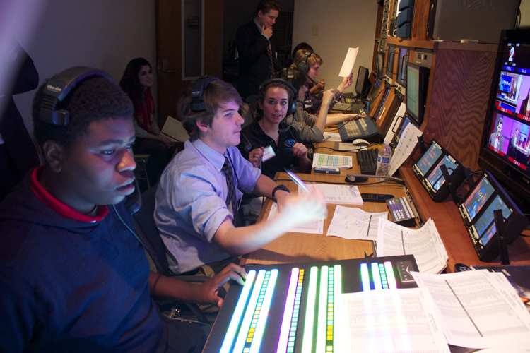 On-air time producer Meagan Bratton kept the crews in the control room and on the sets up-to-date on format changes and times