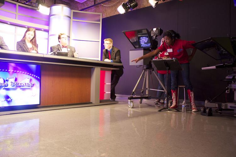 Floor director Naya Foster kept the lines of communication open in Studio B.