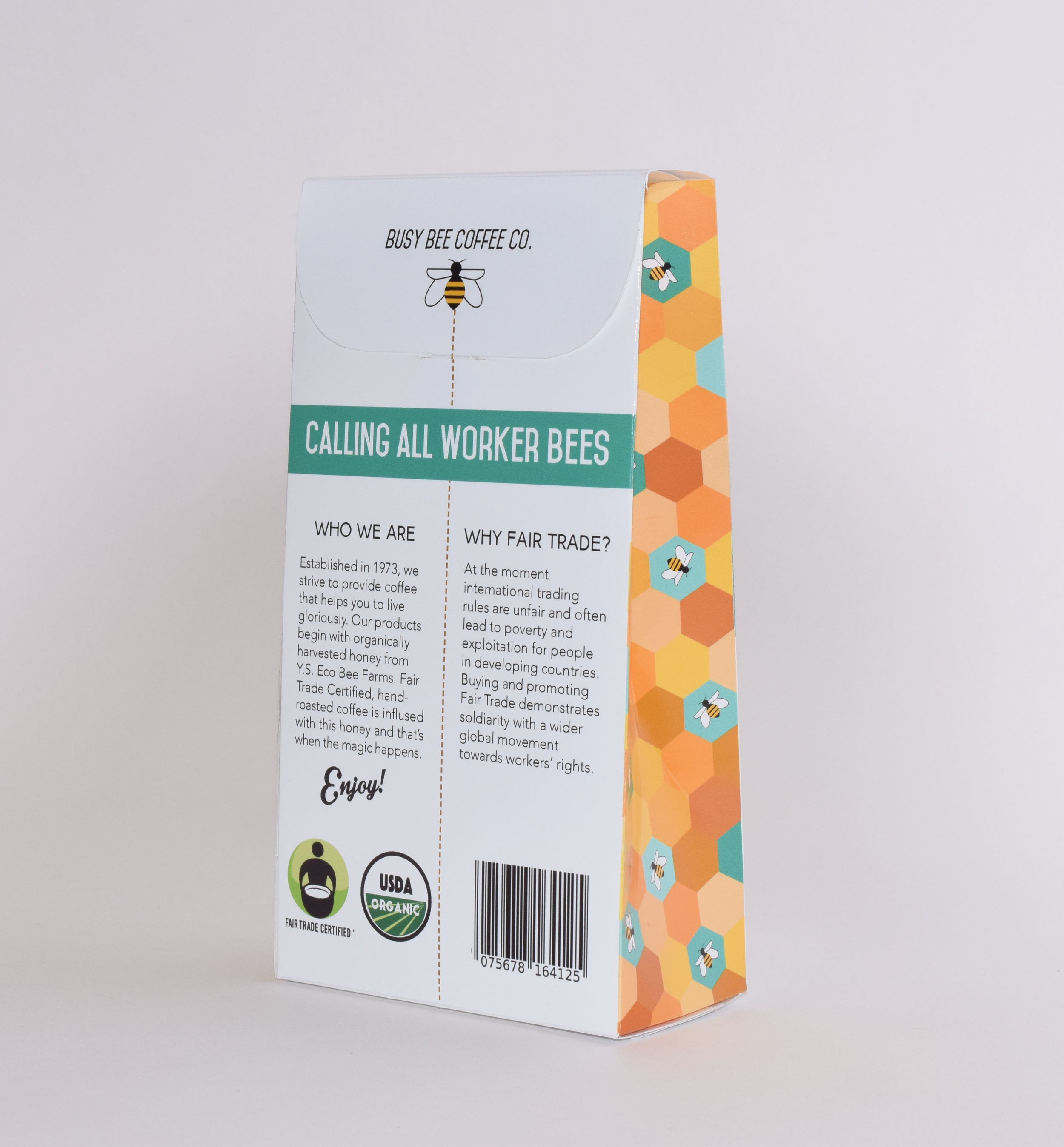 Packaging design for Busy Bee Coffee Co. (back)