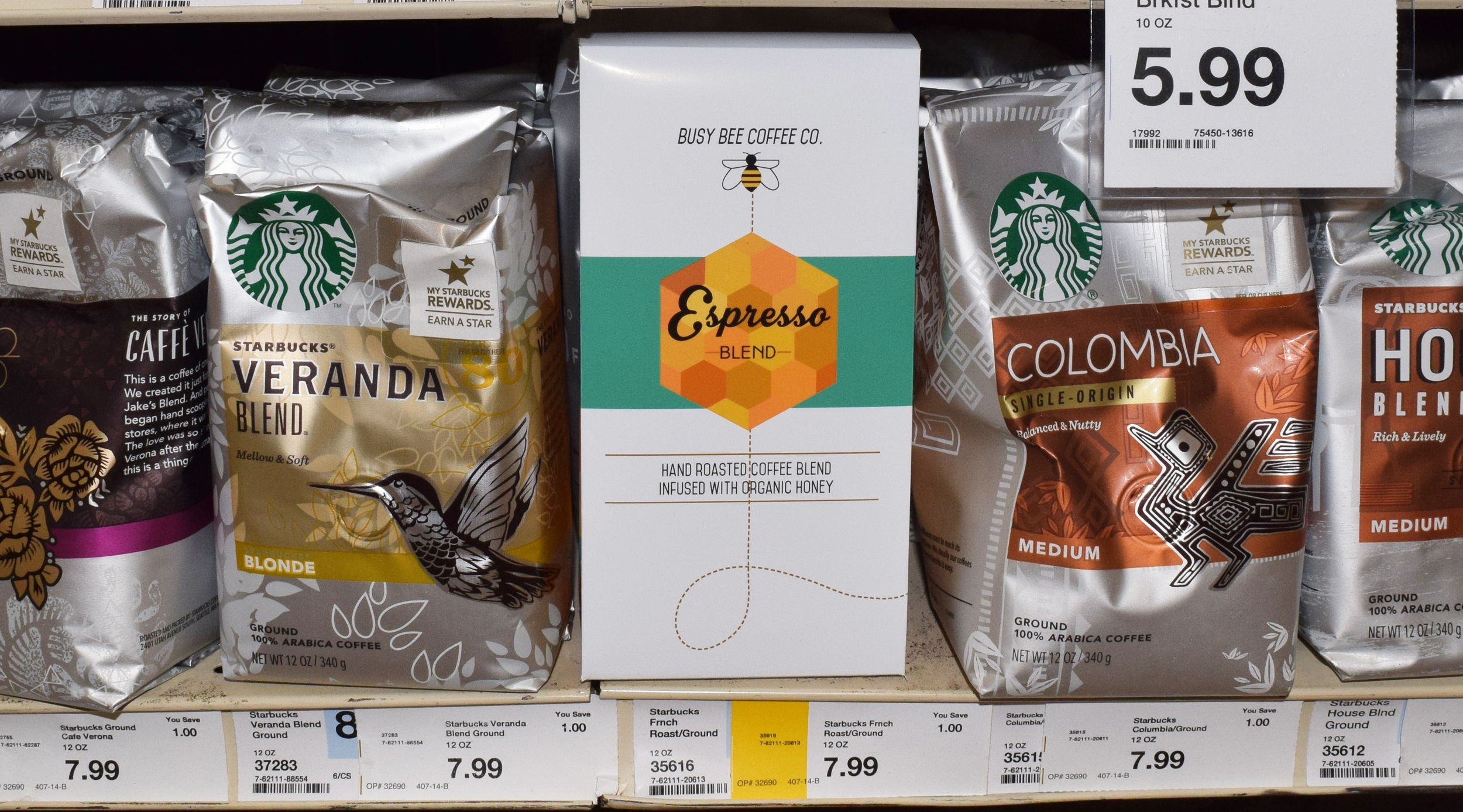 In store example of Busy Bee next to other products