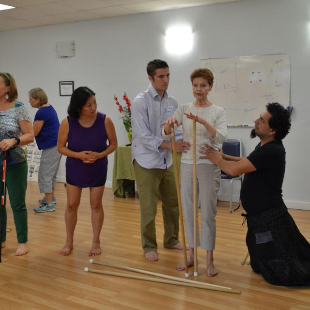 Judith Aston demonstrating vertical ab toning with Kathy Araki, Jeff DeGeorgio and Cintain Mauricio Quintana.