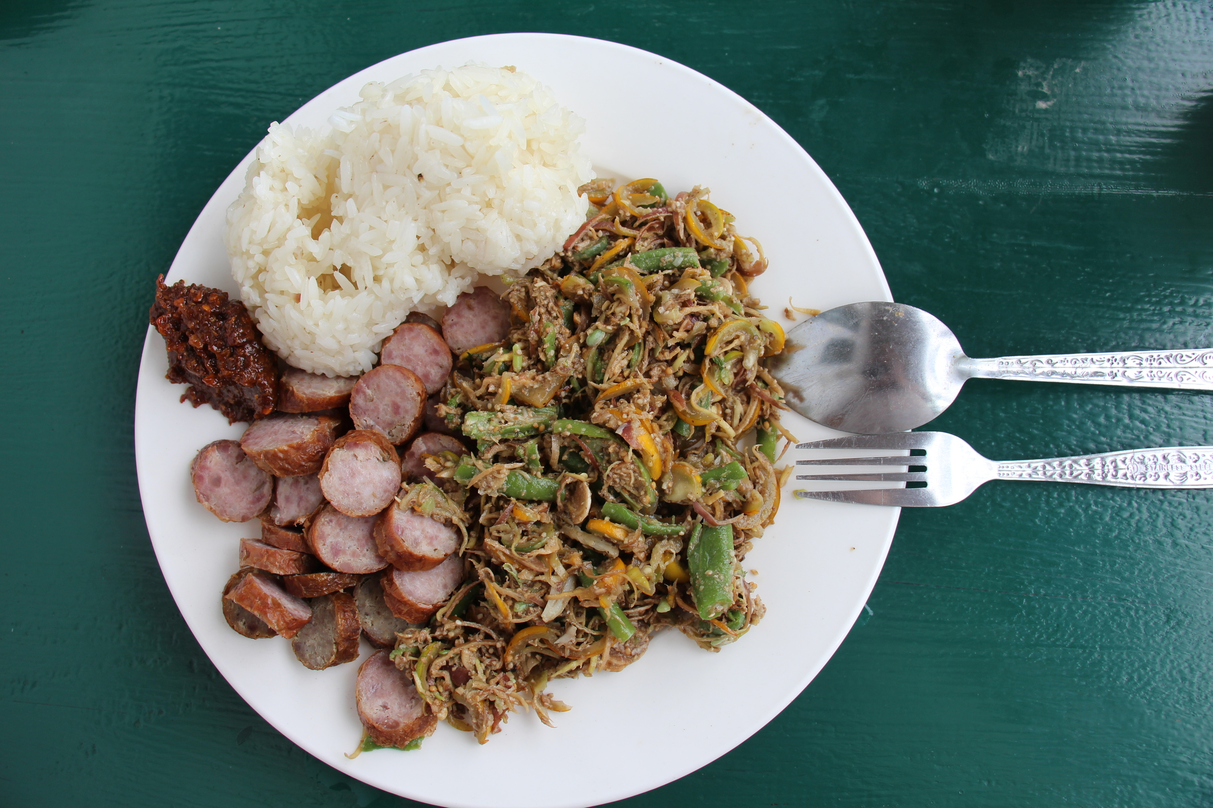 Lunch from the market: sausage, sticky rice, eggplant & long bean saladand jeow