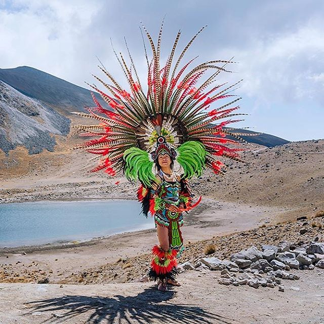 During our hike of El Nevado de Toluca in Mexico City, we came across members of an indigenous tribe who were convening for a ceremony wearing these beautifully elaborate ensembles.