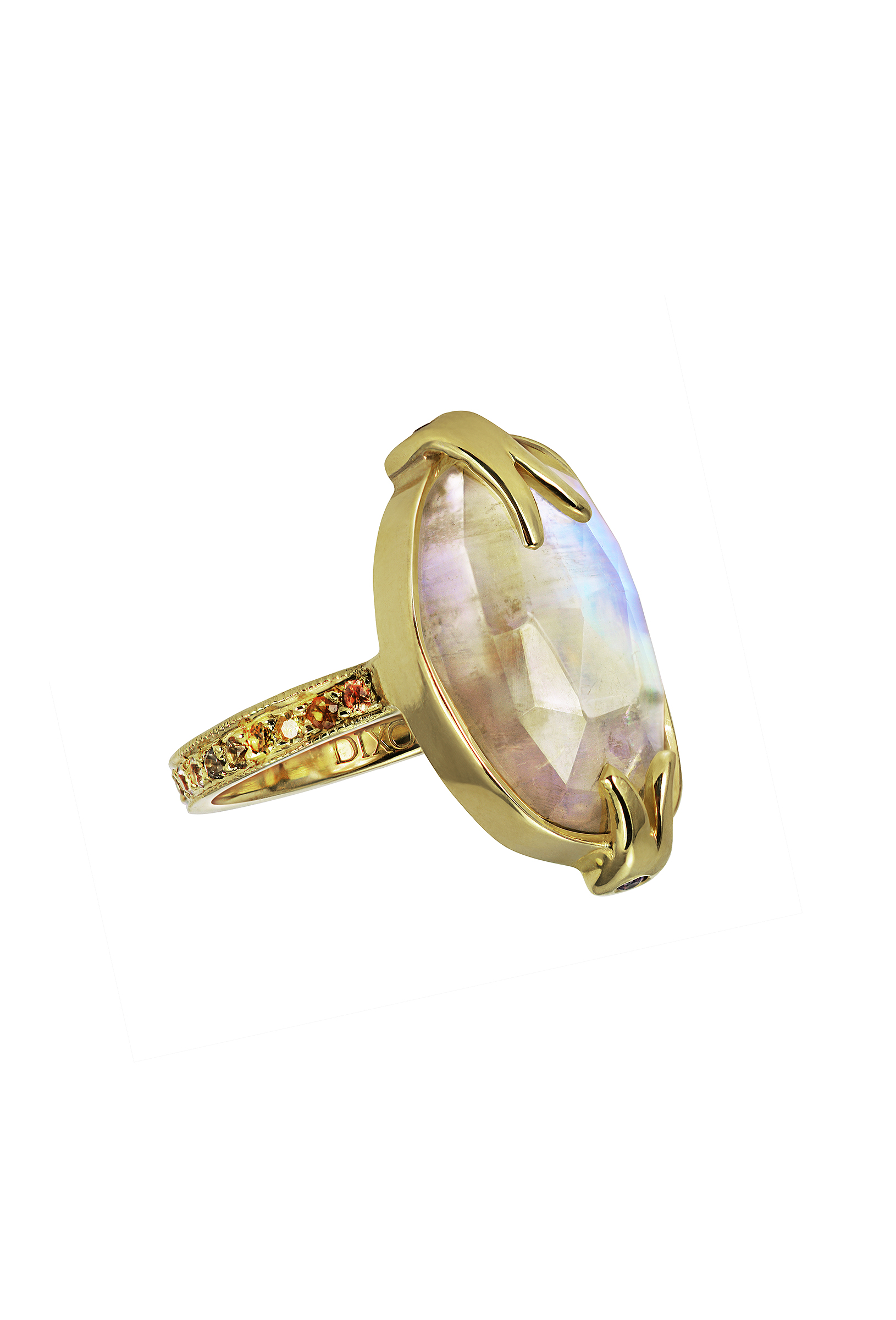Rose Cut Rainbow Moonstone Ring
