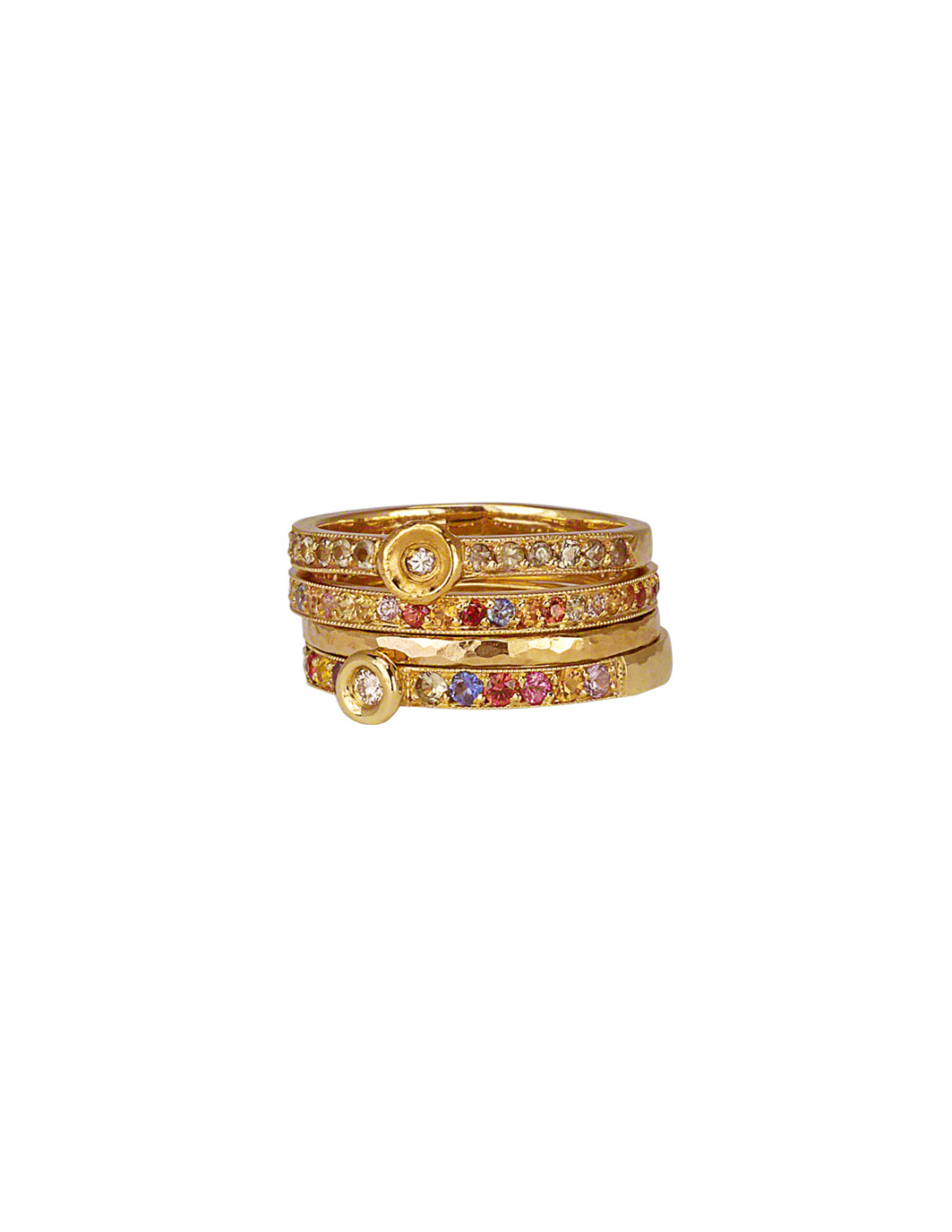 Multicolor Sapphire Stacking Rings