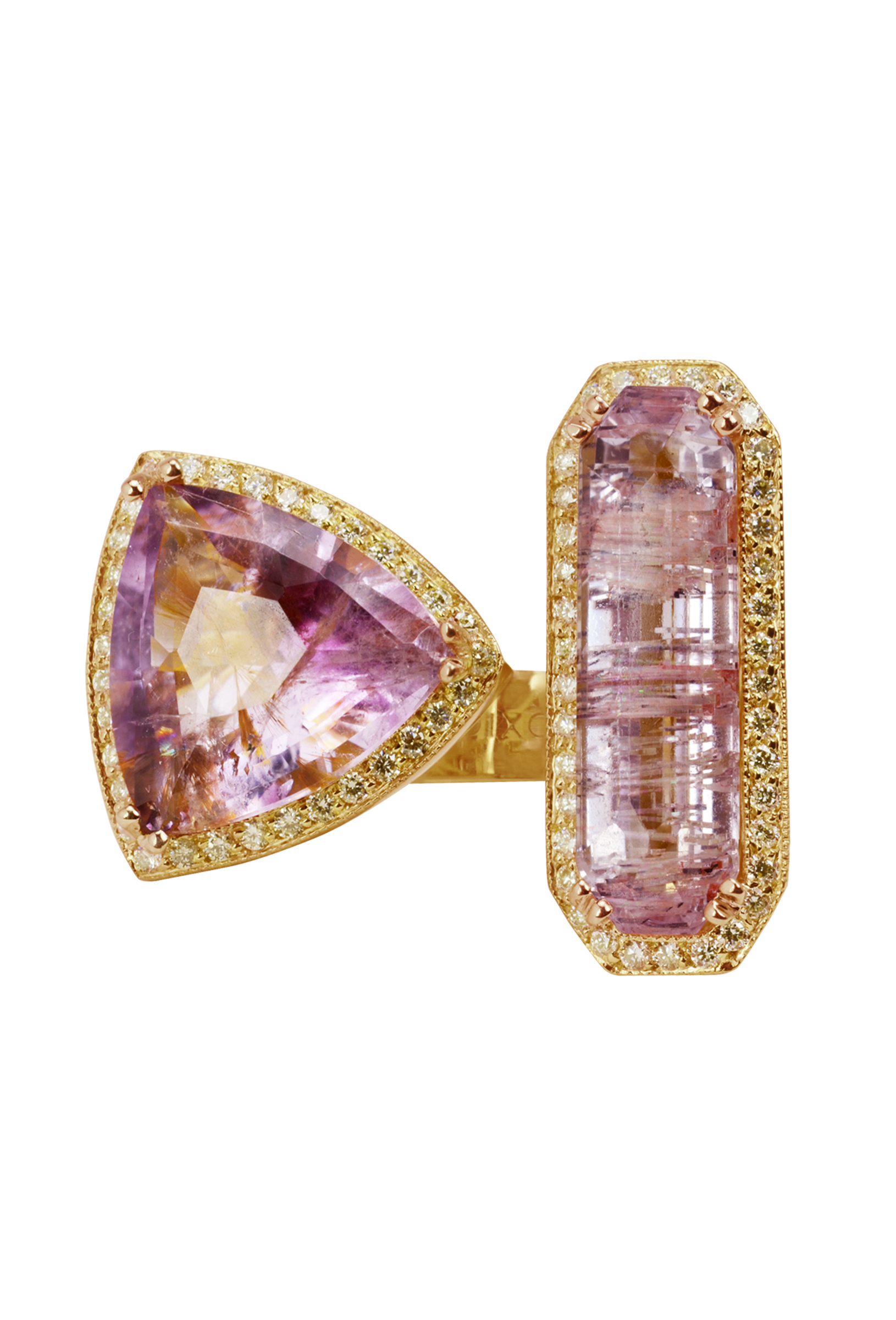 Amethyst Goethite & Rutilated Pink Kunzite Split Ring
