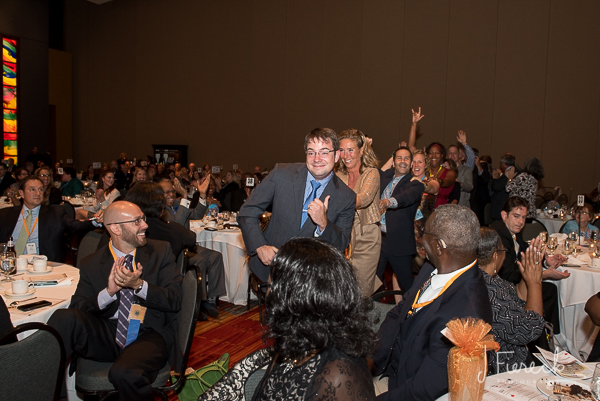 One of the awardees led his whole table via conga line up to the stage to accept his award.