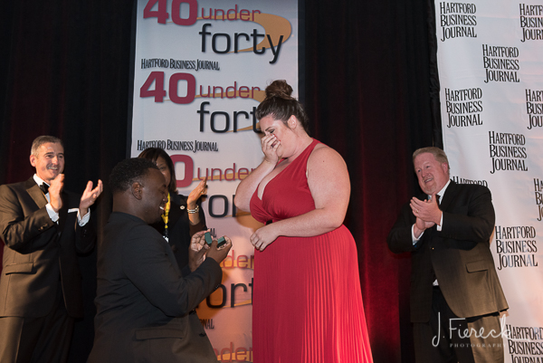 This was a first in 40 Under Forty history. One of the awardees proposed to his girlfriend up on stage.