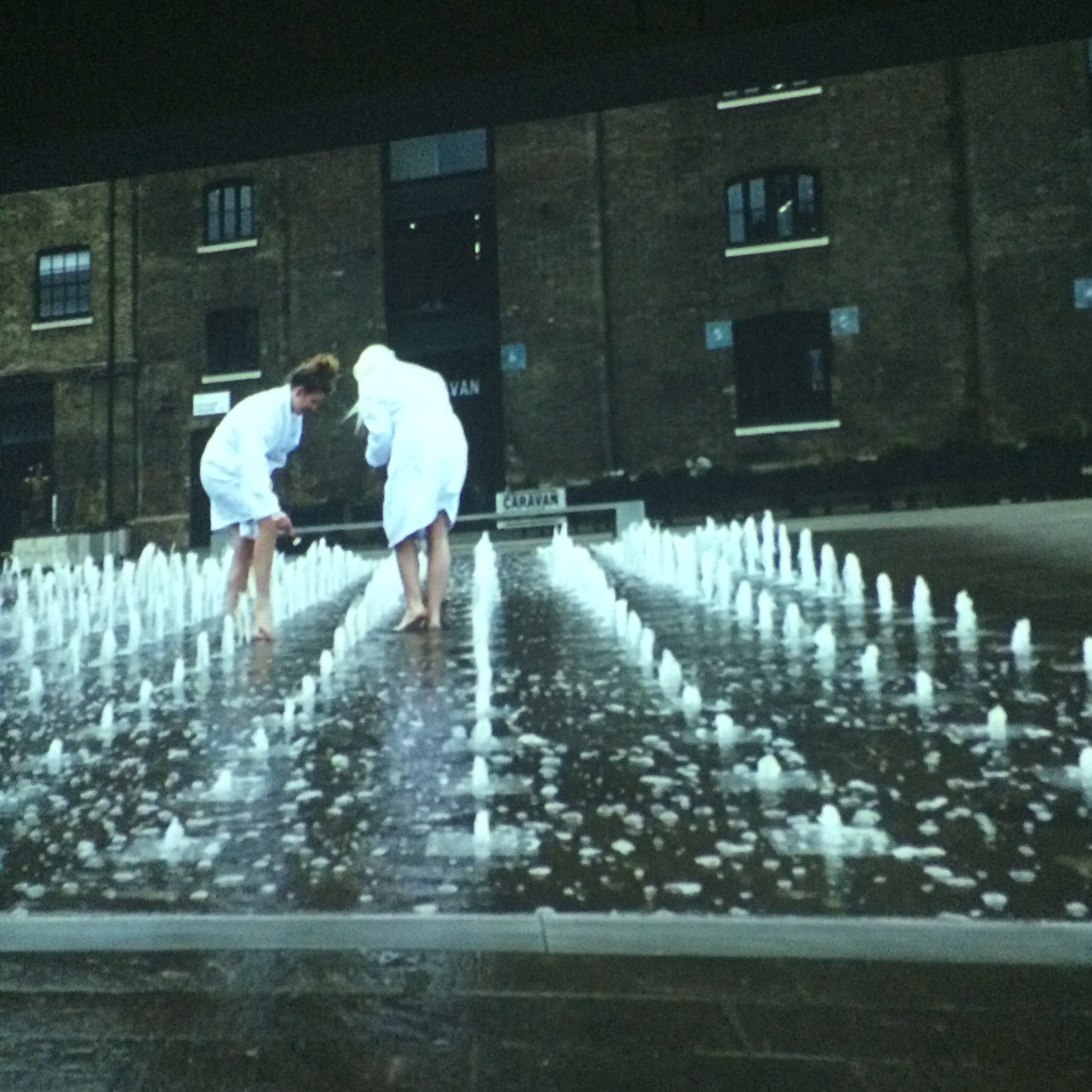 Still from video work; series of staged spa situations in public spaces -  Fina Schneider