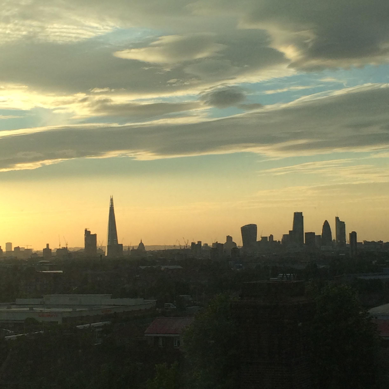 View of London skyline; the Shard, Walkie Talkie, Cheese Grater, Gherkin