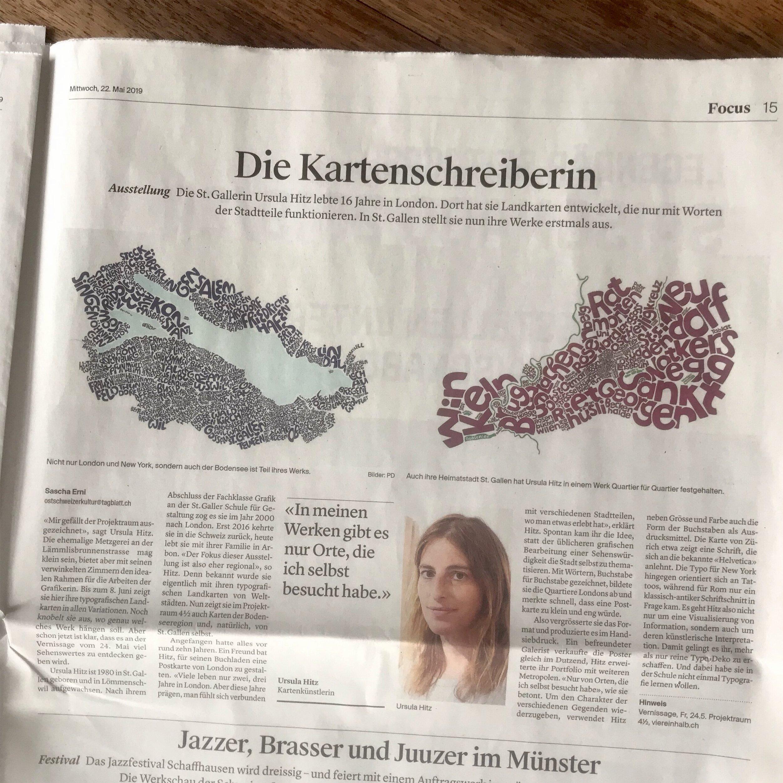 Artikel vom 22. Mai, im Focus, St. Galler Tagblatt