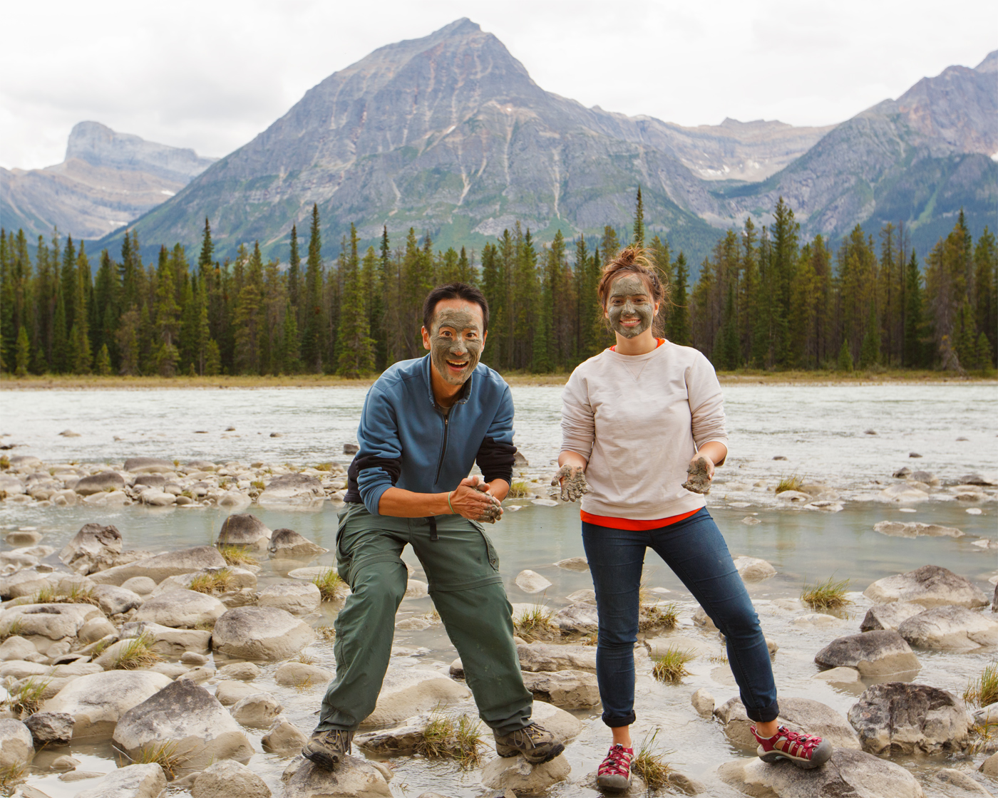Ironically, the only time both of us appeared in a photo together, we decided to cover ourselves with mud! This mud was quite the exfoliator actually, and Lauren had the idea to start a facial masque business in Jasper. (Paul Nguyen)