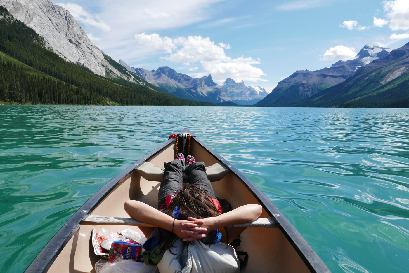 relaxing on maligne lake