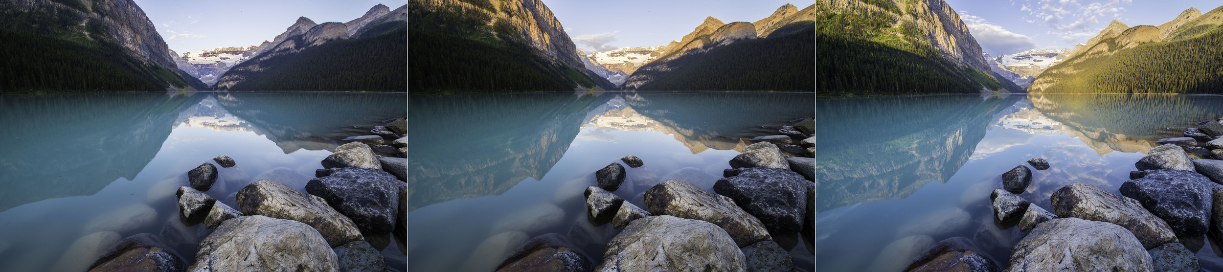 Lake Louise in the changing sunlight