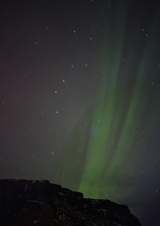 My first attempt at aurora photography, in Iceland in 2015. Don't worry, I get better at it.
