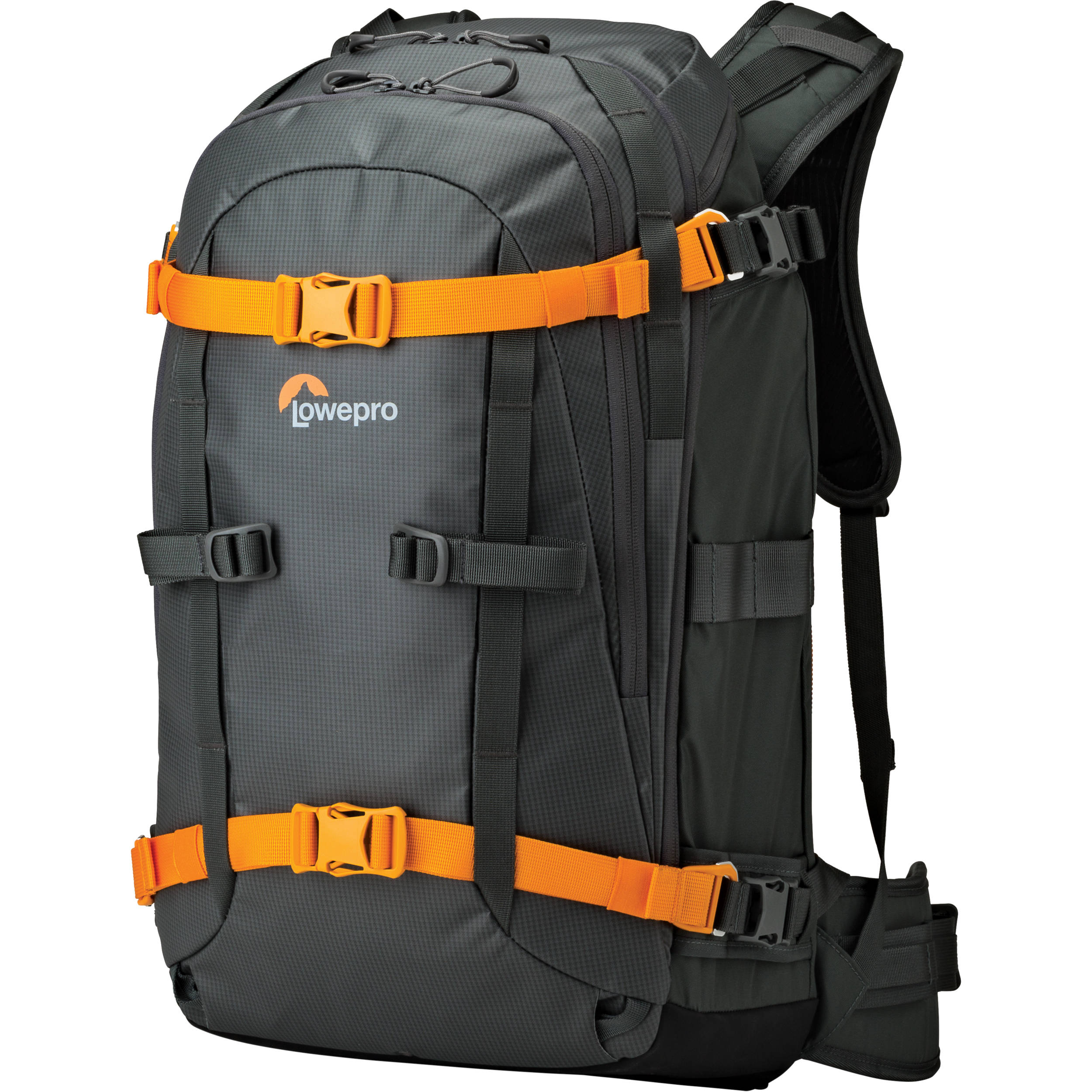My backpack of choice is the Lowepro Whistler, because of its weatherproof material, compact form, and rear-opening compartments (so the side that faces your back isn't the side that you put down on the wet ground when you take it off). It's actually a smaller pack than I used to carry, and it encourages me to bring less equipment, which allows me to hike further and with less fatigue.