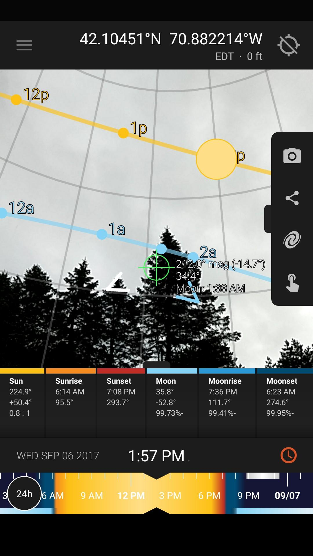 Live view  is great for figuring out if and when the sun or moon will be obscured by tall objects around you such as trees and mountains, or small landscape features in your location that are too small to see on a map.