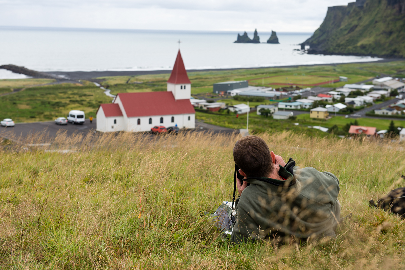 Jon photographing Vik from above