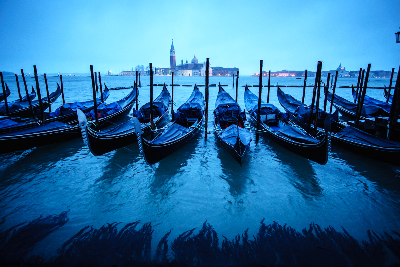 Gondolas in Venice at blue hour before sunrise - it was snowing! © Paul Nguyen