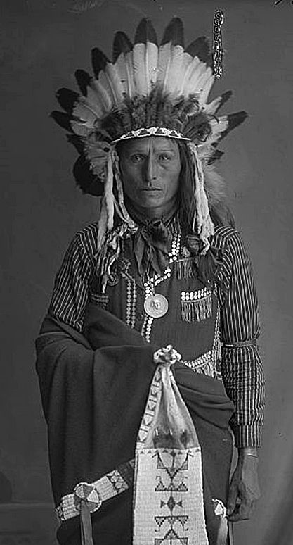 Afraid of Eagle, a Native American Rosebud Sioux man wearing full dress