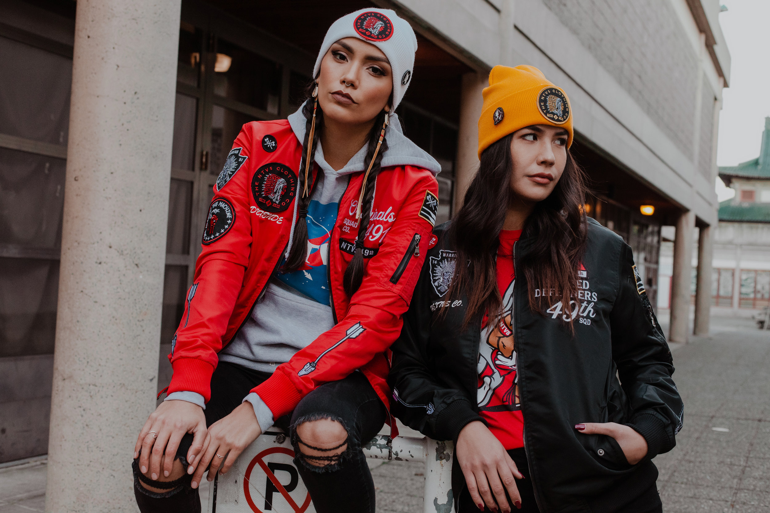 Red & Black Bombers are sure to sell out fast. Features a removable back patch that can be interchanged with other designs.