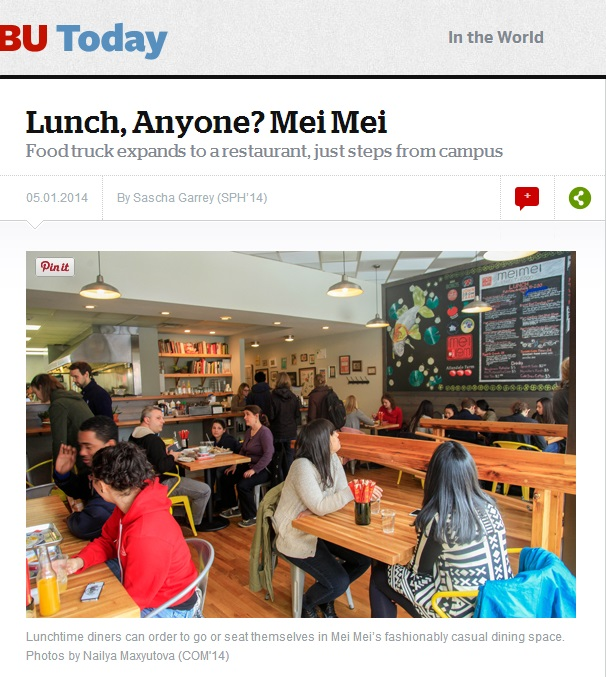 Lunch, Anyone?  Mei Mei Food truck expands to a restaurant, just steps from campus  05.01.2014  By Sascha Garrey