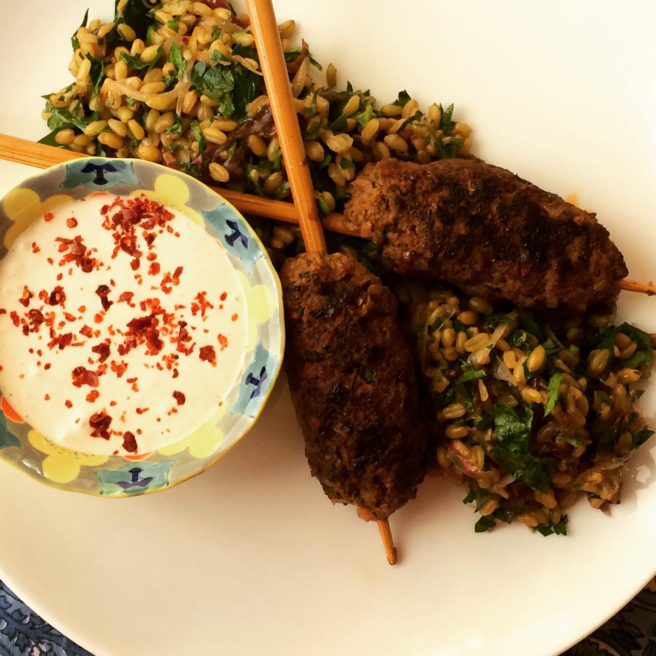 Lamb Kofte Shish, Freekeh Tabbouleh and Tahini Yogurt.