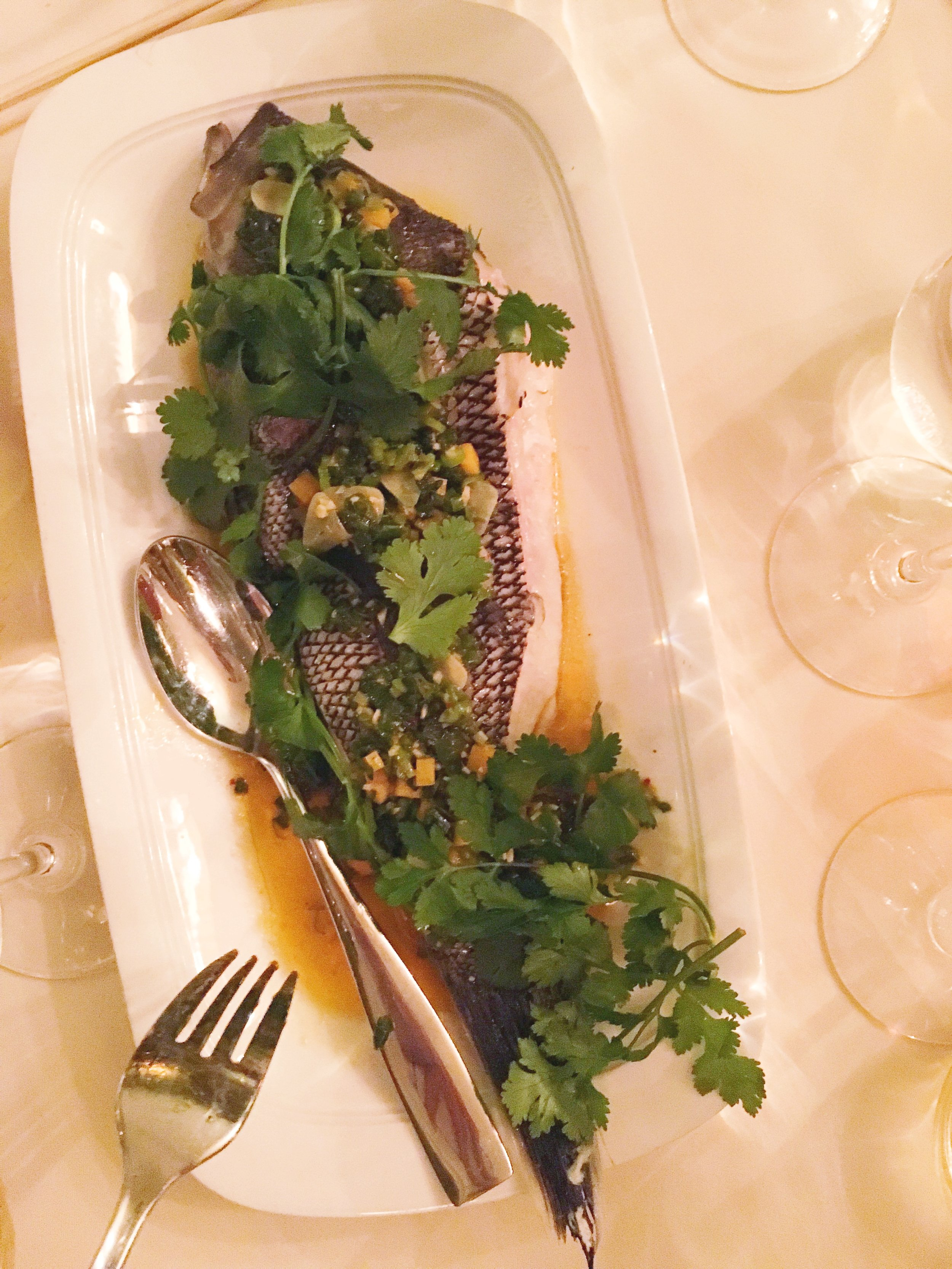 James's phenomenal Whole Black Bass with Kabocha Squash, Ginger and Scallion Sauce and Preserved Green Strawberries.
