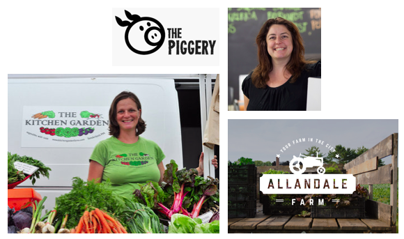Some of our local food suppliers! (Caroline from Kitchen Garden, Heather Standford from The Piggery, and Allandale Farm)