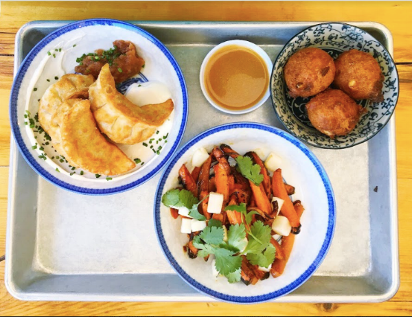 Pierogi Dumplings, Roasted Honey Carrots, and Sweet Corn Fritters (with soy aioli) -- yum!
